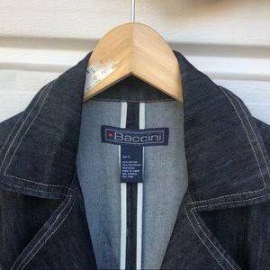vintage denim baccini trench coat